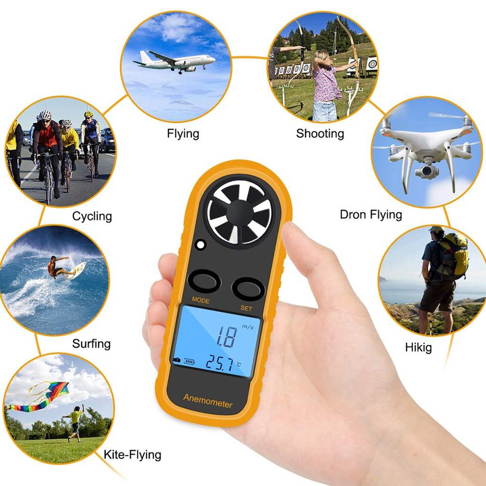 GM816 Portable Anemometer Anemometro Thermometer Wind Speed Gauge Meter Windmeter 30m/s LCD Digital Hand-held Tool