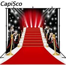 Capisco фотография Фон тройники ослепительный красный ковер мода фантазия блестящие звезды фоновые реквизиты фотобудка для фотосессии студии