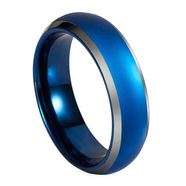 queenwish blue tungsten wedding rings 6mm8mm domed with beveled silver edges unique engagement rings - Tungsten Wedding Rings