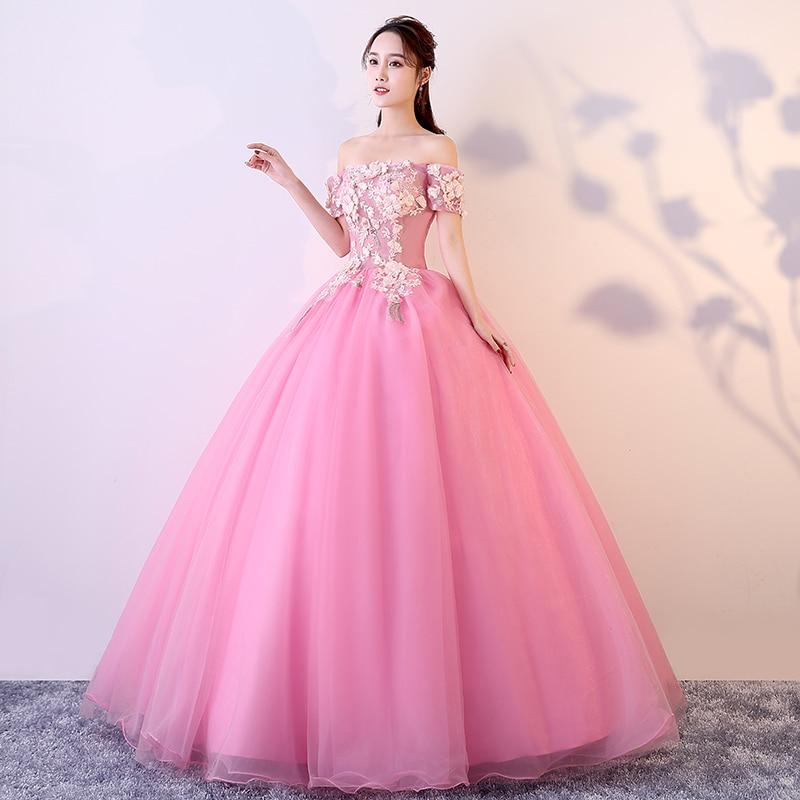 Vestidos De 15 Anos Quinceanera 2019 Debutante Elegant Girl Ball Gown Dress Boat Neck Luxury Applique Flower Vestido De Noche