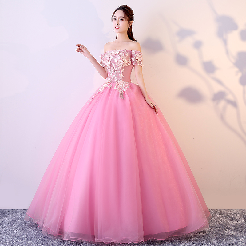 Vestidos De 15 Anos Quinceanera 2020 Debutante Elegant Girl Ball Gown Dress Boat Neck Luxury Applique Flower Vestido De Noche