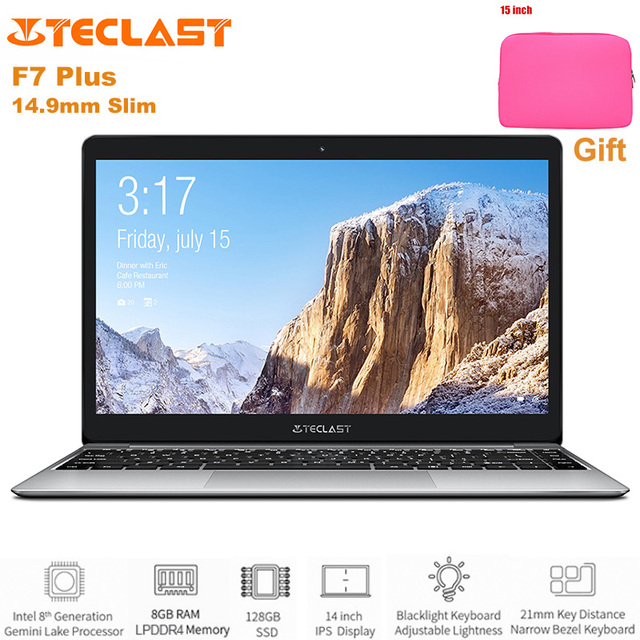 Teclast F7 Plus Slim Notebook 14.0'' Windows 10 Intel Gemini Lake N4100 Quad Core 1.1GHz 8GB RAM 128GB SSD HDMI 6500mAh Laptop