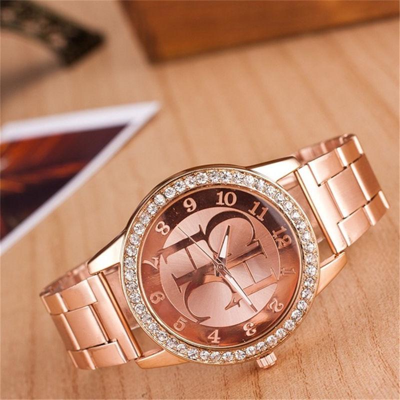 Reloj Mujer New Famous Brand Luxury Watch Women Fashion Crystal Dress Quartz Watches Women Stainless Steel Wristwatches Hot 2019