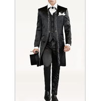 Embroidery Black Wedding Groom Tuxedos for Men 2018 Vintage Long Three Piece Custom Made Men Suits (Jacket +Pants + Vest)