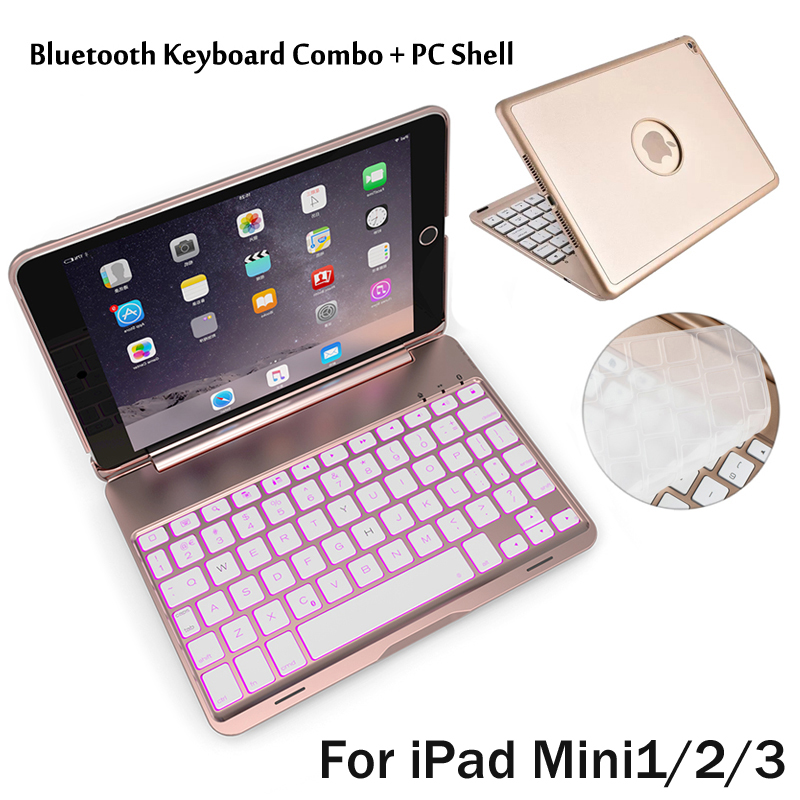For iPad Mini1/2/3 7 Colors Backlit Light Wireless Bluetooth Keyboard Case Cover For iPad Mini 2 Mini 3 + Stylus + Film for ipad mini 4 backlit wireless 4 0 bluetooth keyboard 7 colors backlight ultra slim aluminum abs material a1538 a1550