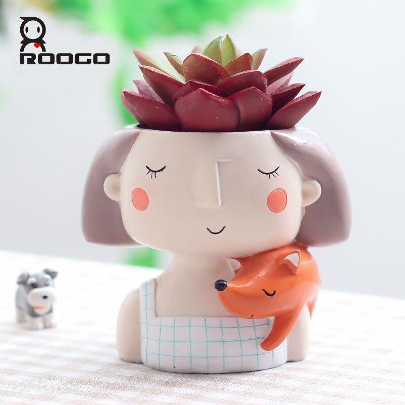 Image 3 - Roogo 4item Succulent Plant Pot Cute Girl Flower Planter Flowerpot Creat Design Home Garden Bonsai Pots Birthday Gift Ideas-in Flower Pots & Planters from Home & Garden