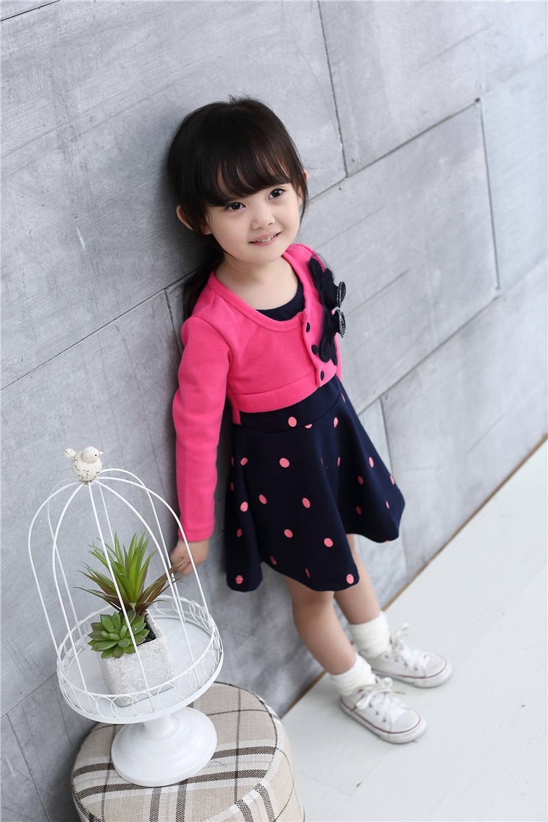 new korean girl flower dot dress nova brand woolen autumn baby