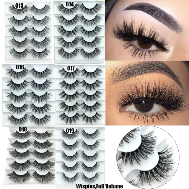 5 Pairs Faux Mink Hair False Eyelashes Natural Wispy Lashes Handmade Cruelty-free Criss-cross Eyelash Extension Big Eyes Makeup