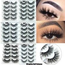 5 paires Faux vison cheveux Faux cils naturel vaporeux cils fait à la main sans cruauté Criss cross Extension de cils gros yeux maquillage