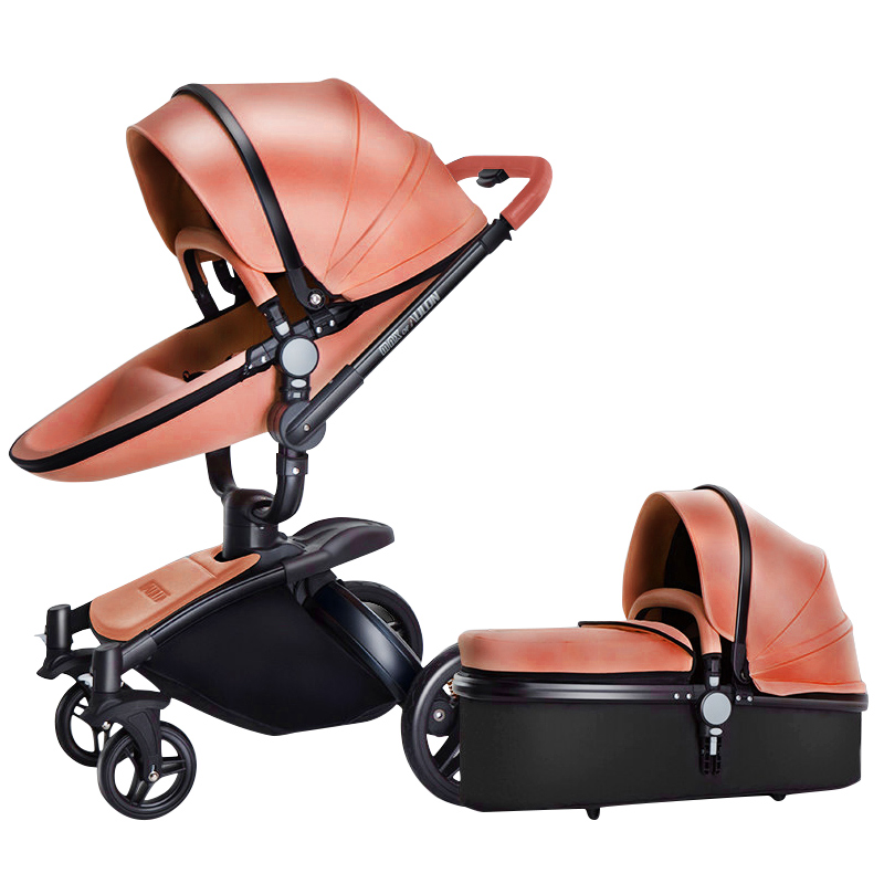 Luxury Baby Stroller 3 In 1 With Separate Carrycot Black Frame 360 ...