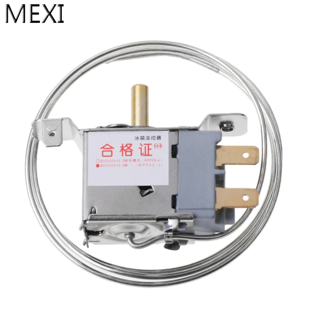 MEXI WPF22-L AC 250V 2Pin Refrigerator Thermostat Household Metal Temperature Controller New wpf22a ac 220 250v refrigerator refrigeration thermostat w 30cm metal cord
