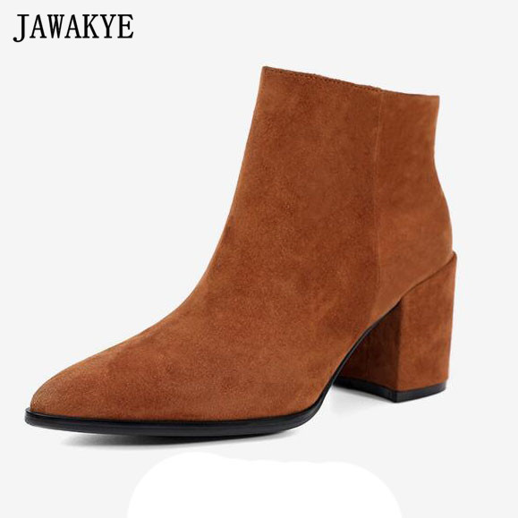JAWAKYE Winter wine red brown Point Toe real kid Suede Ankle Boots for women chunky high heels chelsea short martin boots enmayla autumn winter chelsea ankle boots for women faux suede square toe high heels shoes woman chunky heels boots khaki black