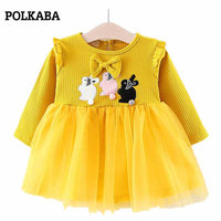 Bebé Vestidos manga larga Niño Pascua Vestidos para Niñas conejo applique tulle vestido amarillo 6-36 meses algodón