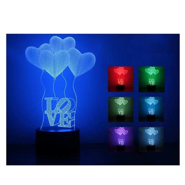Nova Chegada 3D ilusão Lâmpada LED Luzes da Noite Descoloração Lâmpada Colorida Atmosfera Iluminação Novidade 3D Amor Do Coração de Acrílico