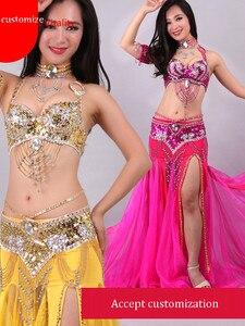 Image 5 - Broderie perlée à la main soutien gorge jupe danse du ventre Costume pour les femmes robe orientale pour ensemble de danse sur mesure livraison gratuite