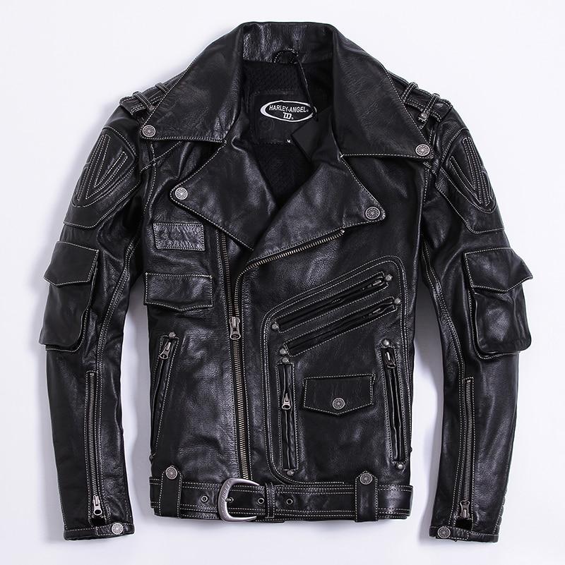 1d21e71037e HARLEY ANGEL 2018 Brand Leather Jacket Men Fashion Mens Slim Fit Profession  Motorcycle Biker Jacket Genuine