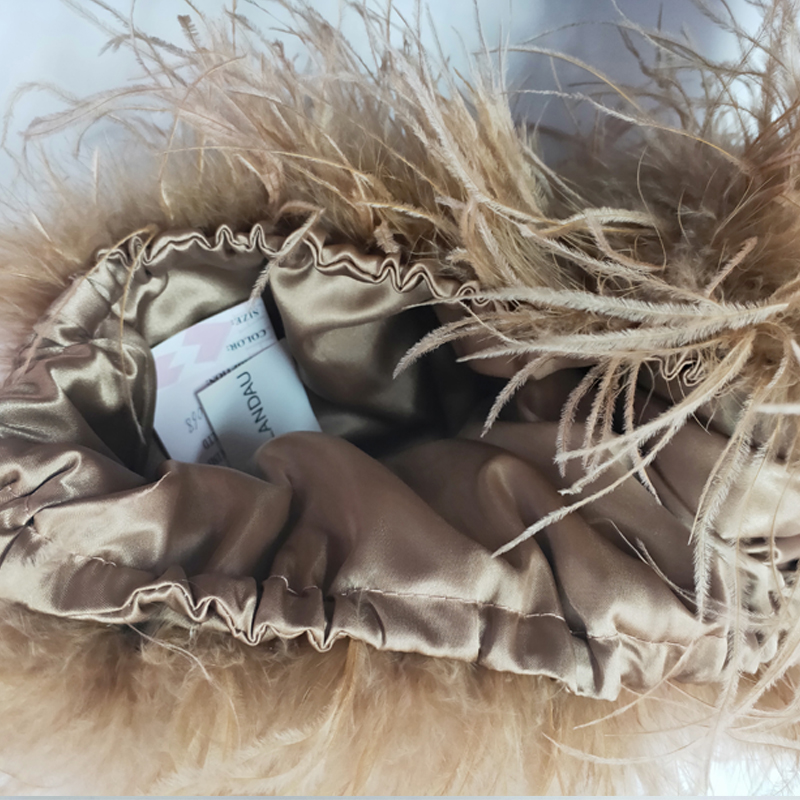 New 100% Natural Ostrich Hair Bra Underwear Women's Fur Coat Real Ostrich Fur Coat Fur Mini Skirt