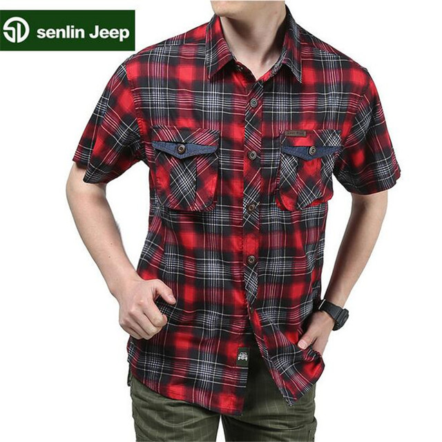 SenLin AFS JEEP Classical Design Short Sleeve Man's Short Sleeve Plaid High Quality Shirt,Camisas para hombres Cargo Summer Men