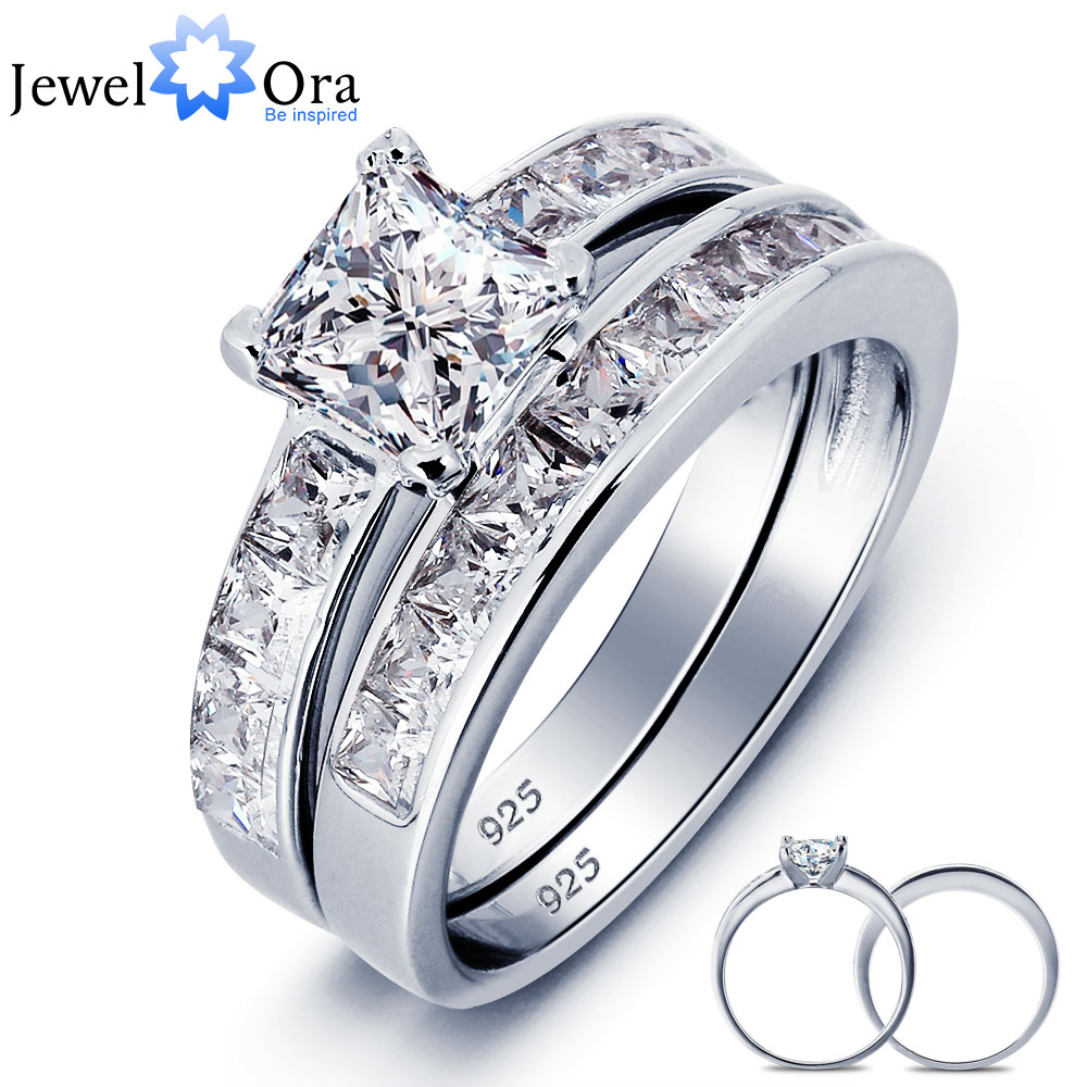 Luxurious Wedding Accessories 6mm Square Cubic Zirconia Ring Sets 925 Sterling Silver Rings For Women (JewelOra RI101616)
