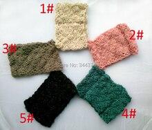 Оптовая 2014 новых женщин способа золота шерсть ручной вязки зима теплая шарф повязка 10 шт./лот Бесплатная доставка