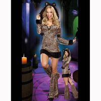 Sexy Halloween Leopard Costume For Women Fur Animal Cat Cosplay Long Sleeve Hooded Dress Performance Party Club Night Suit Adult
