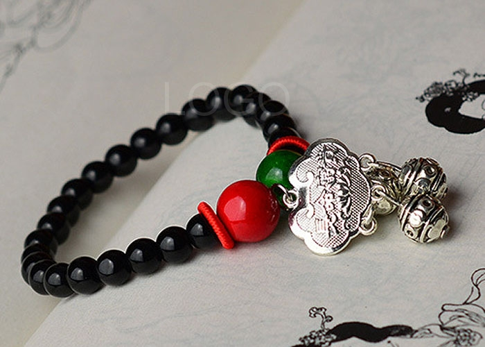 New Arrival Fashion Women Beads Bracelet with Silver Auspicious Longevity Lock Pendant