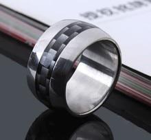 Широкий 12 мм черный сетки кольца Углеродного волокна Из Нержавеющей Стали 316L мужчины палец кольцо оптовые много ювелирных изделий