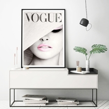 Vogue Cover White Hat Wall Art Nursery Canvas Painting Picture Nordic Fashion Photography Ladies Room Decor Unfram
