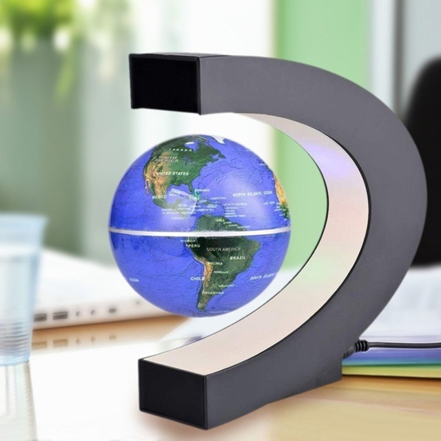 C Shape Black Blue Led World Map Decor Home Electronic Magnetic Levitation Floating Globe Antigravity