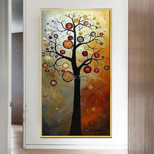 hand painted Wall art home decor quadros tree Pictures painting yellow brown Tree Oil Painting On Canvas  lucky cuadros