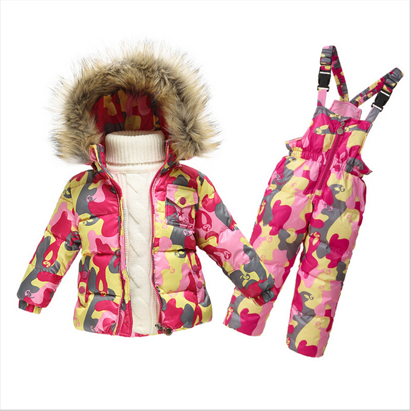 1-5Y Baby Snowsuit New Toddler Boy Girl Snow Wear Faux Fur Collar Kids Winter Thicken Outwear Down Jacket Jumpsuits