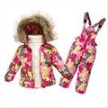 Bebê Snowsuit 1-5Y Nova Criança Da Menina do Menino Desgaste da Neve do Falso Gola De Pele de Inverno Crianças Engrossar Outwear Para Baixo Casaco Jumpsuits