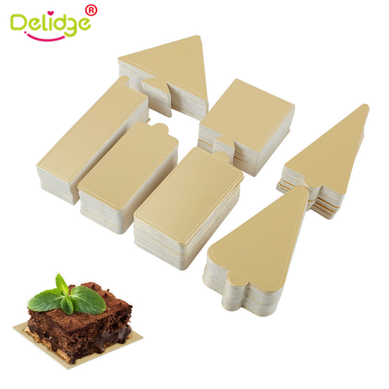 Delidge 50 ピース/セットゴールデン紙ムースケーキボードクリスマスツリー形のトレイマウスベースパッドウェディングケーキ装飾ツール