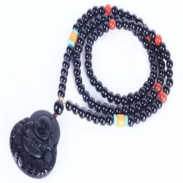 Ubeauty natural Obsidian stone women/men necklace 6mm 108 Tibetan Buddhist mala prayer beads bracelet  Buddha head Pendant
