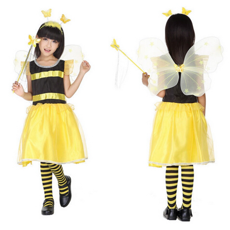 Children's Halloween costumes Stripe version children show wings butterfly bee animal fairy costume