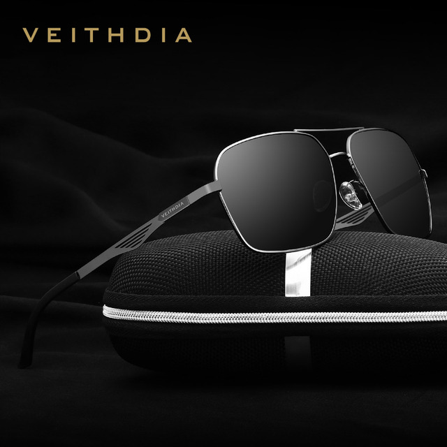 VEITHDIA Stainless Steel Polarized Men's Square Vintage Sun Glasses Male Eyewear Accessories Sunglasses For Men 2459