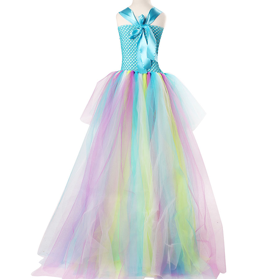Kids Princess Multi Colored Flowers Long Tail Tutu Dress Baby Girls (6)