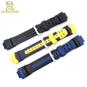 Image 4 - Bracelet en caoutchouc de silicone interface convexe bracelet de montre 16mm bracelet de montre en cuir véritable bord pour casio G 314RL 1A/G 315/bracelet de G 354