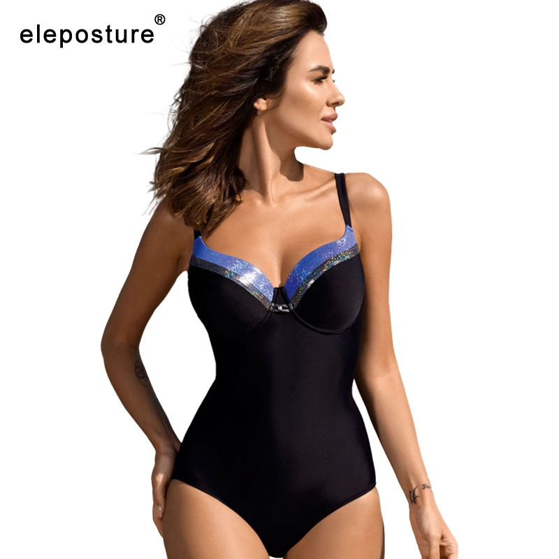Image 3 - 2020 Black One Piece Swimsuit Plus Size Swimwear Women Bodysuit Push Up Monokini Swimsuits Vintage Retro Bathing Suits BeachwearBody Suits   -