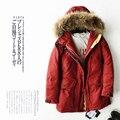 Luxo Rússia Para Baixo Casaco Jaqueta de Inverno 2016 Mulheres Engrossar Quente Pele Real Com Capuz Feminino Outerwear Jaqueta de Ganso Para Baixo Casacos Jaqueta