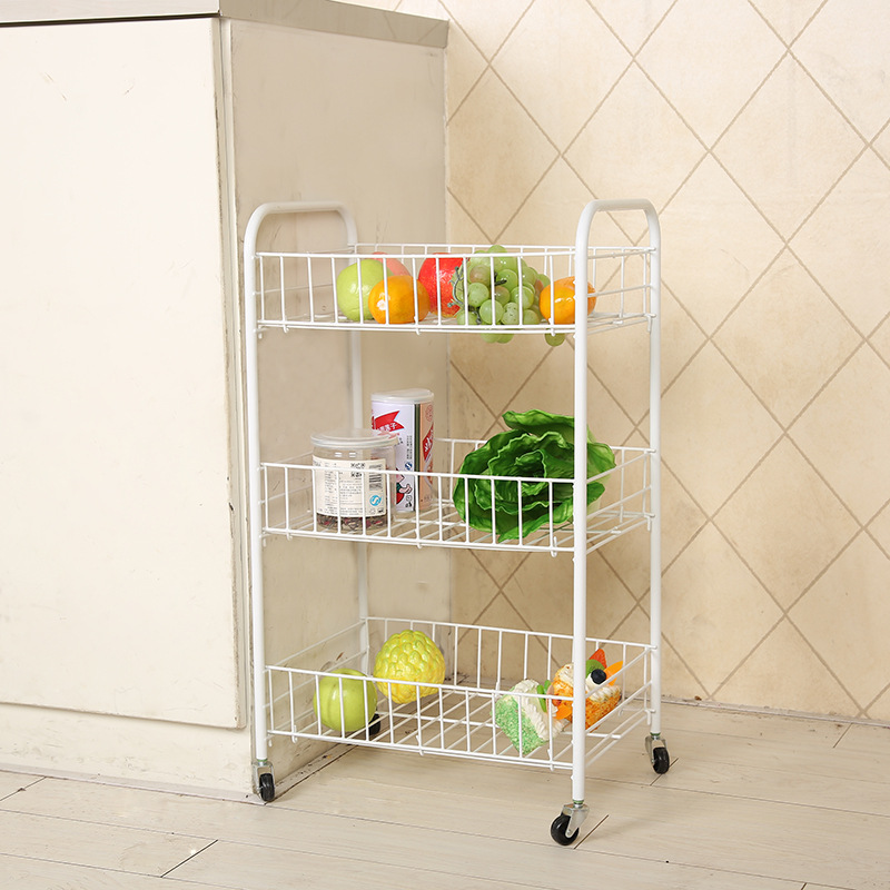 New Creative Home Three-storey Trolley Folding Mobile Clutter Storage Fruit Kitchen Vegetable Rack Kitchen Cart