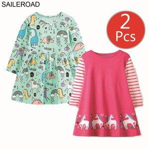 Image 3 - SAILEROAD 2 個動物アップリケガールズロングスリーブドレス 7 年の女の子服のエレガントなドレスパーティードレスユニコーンドレス