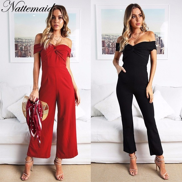 cf9c9c38f6f7 NATTEMAID Rompers Womens Jumpsuit 2018 Summer Slash Neck Strapless Off  Shoulder Bodysuit Sexy Club Casual Black Red Overalls