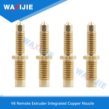 5PCS/Lot V6 Brass Nozzle 1.75mm/3.0mm Filament General Purpose and Throat Integrated Copper For Remote Extruder