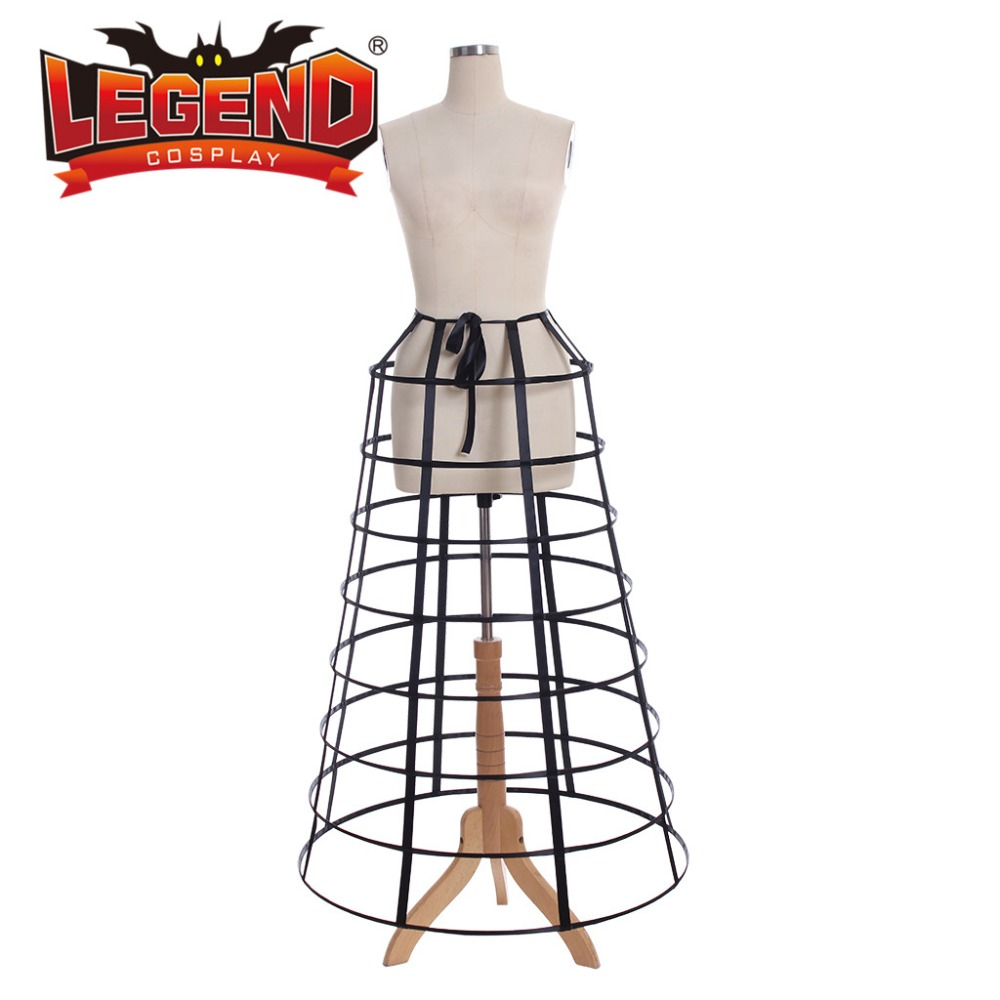 Black hoop cage skirt long pannier black cage crinoline