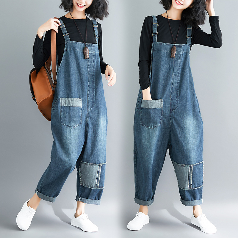 Big Pockets Wide Leg Denim Overalls Women Baggy Suspenders bib Cowboy pants plus size Low Drop Crotch casual jean   Jumpsuits   GB02