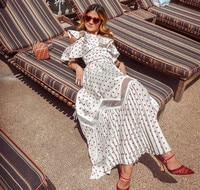 High Quality Self Portrait Dress 2018 Women Polka Dot Printe Pleated Long Beach Dress Sexy one Shoulder Ruffle Summer Dress
