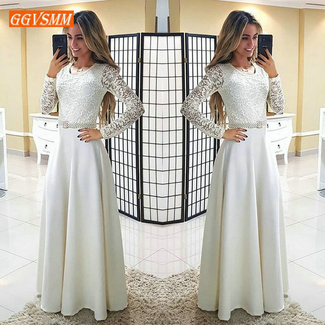 Formal Ivory Slim Fit Long Party Dresses Evening 2019 Pageant Evening Gown Women O-neck Satin Lace A-Line ball gown Maxi Dress