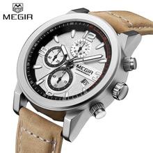 Megir модные Элитный бренд кожа Для Мужчин's Повседневные часы спортивные Для мужчин часы армия Военная Униформа хронограф мужской Relogio Masculino
