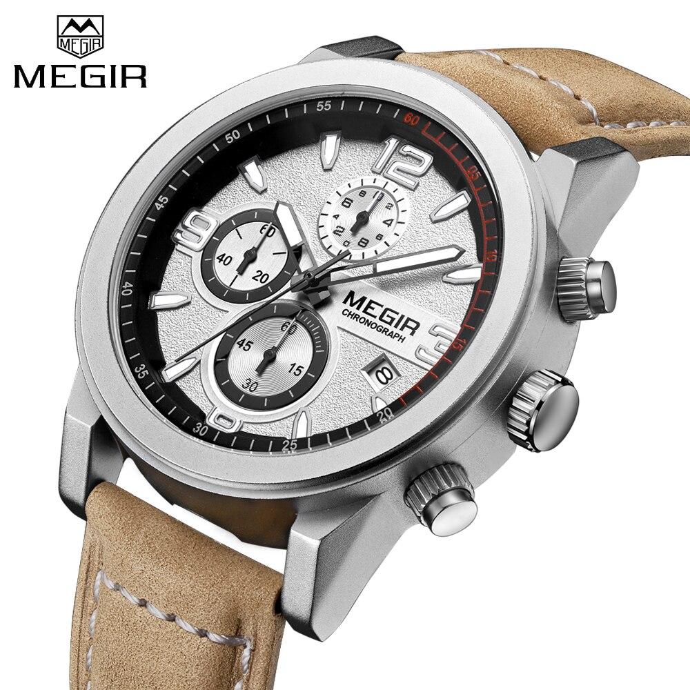 7123f4b6404 MEGIR Marca de Moda de Luxo de Couro Relógio de Quartzo dos homens Relógios  do Relógio Dos Homens Do Esporte Do Exército Militar Chronogragph Masculino  ...